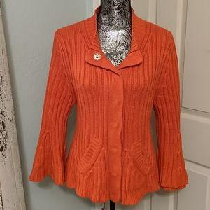 Anthropologie Parallel orange knit sweater